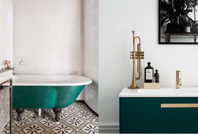 Awesome Salle De Bain Vert Fonce Images - House Design ...